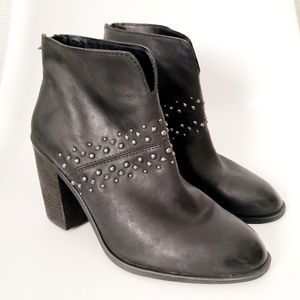 Lucky Brand Sancha Black Leather Moto Heeled Boots